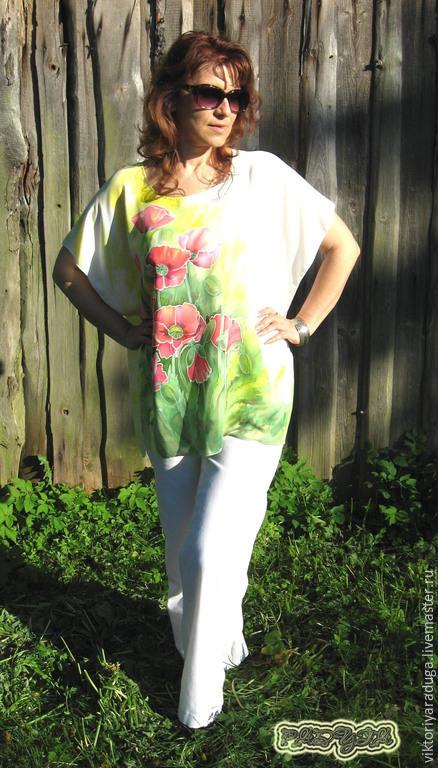 """Пляжные туники ручной работы. Ярмарка Мастеров - ручная работа. Купить Авторская блуза-туника """"Маки"""" - батик. Handmade. Разноцветный"""