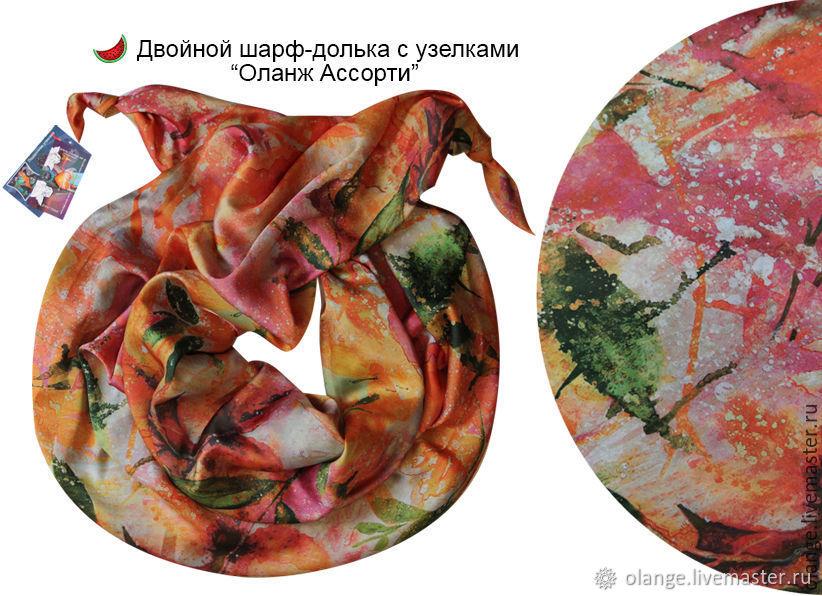 """Шарфы и шарфики ручной работы. Ярмарка Мастеров - ручная работа. Купить Двойной шарф-долька с узелками """"Апрель""""-7. Handmade."""