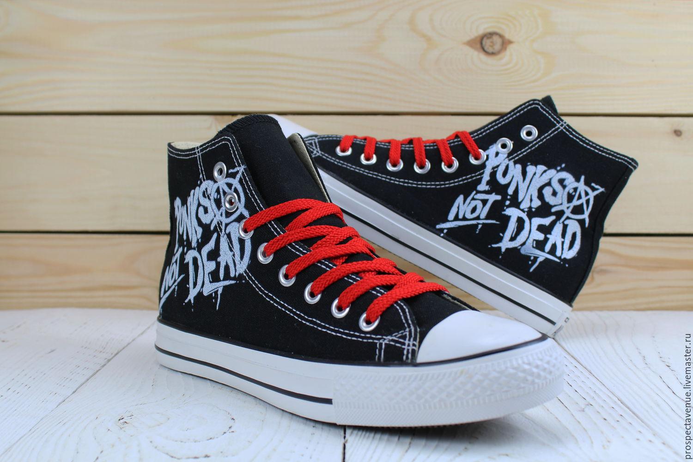 318f426456f0 Купить Высокие кеды Converse «Punks · Обувь ручной работы. Высокие кеды  Converse «Punks not dead».