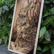 "Pictures handmade. Livemaster - original item Copy of Wood Wall Wood Wall Art "" Hare "", Wood Art,Nature Art. Handmade."