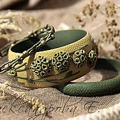 """Украшения ручной работы. Ярмарка Мастеров - ручная работа Комплект браслетов """"Сухоцветы"""" из полимерной глины и бисера. Handmade."""