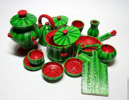 """Миниатюра ручной работы. Ярмарка Мастеров - ручная работа. Купить Набор кукольной посуды """"Арбузик"""". Handmade. Разноцветный, арбузы"""