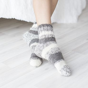 Аксессуары handmade. Livemaster - original item Down socks (goat down) knitted with asymmetrical pattern. Handmade.