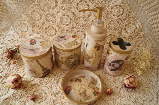 """Ванная комната ручной работы. Ярмарка Мастеров - ручная работа. Купить """"Париж""""-Набор для ванной комнаты. Handmade. Бежевый"""