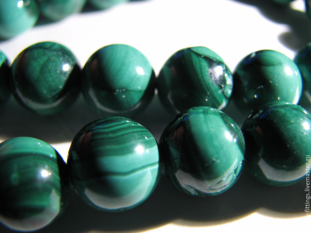 Natural malachite beads, African. Zaire, 10 mm light, Beads1, Moscow,  Фото №1