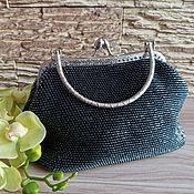 Сумки и аксессуары handmade. Livemaster - original item Handbag, cosmetic bag, purse made of beads black silver. Handmade.