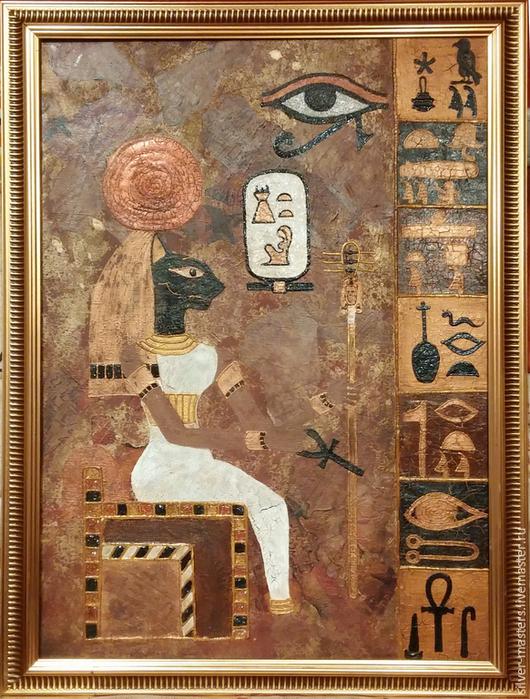 """Символизм ручной работы. Ярмарка Мастеров - ручная работа. Купить Картина-панно """"Бастет"""". Handmade. Разноцветный, масло, древний египет"""