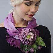 Аксессуары ручной работы. Ярмарка Мастеров - ручная работа Лёгкий летний шарф+ цветок (валяние). Handmade.