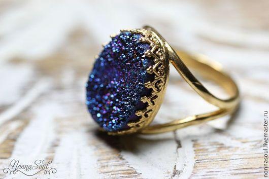 Кольца ручной работы. Ярмарка Мастеров - ручная работа. Купить Овальное кольцо с синими друзами кварца. Handmade. Синий, друза