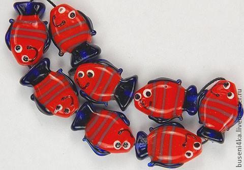 Для украшений ручной работы. Ярмарка Мастеров - ручная работа. Купить Бусина Рыбка красная 21х16х8мм (лампворк) 1шт.. Handmade.