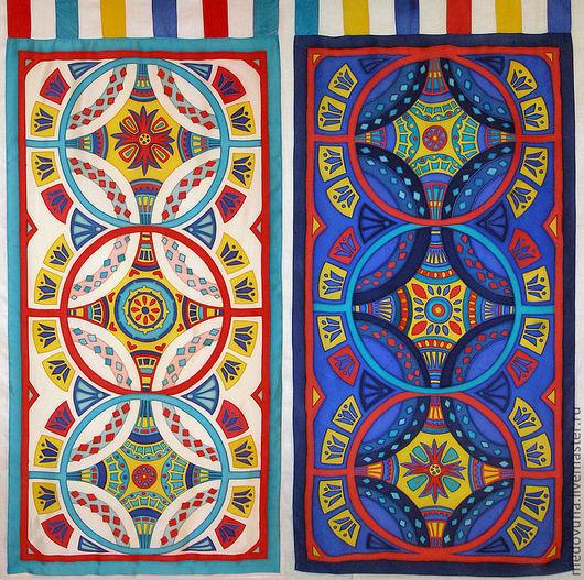 """Текстиль, ковры ручной работы. Ярмарка Мастеров - ручная работа. Купить """"День и ночь"""" шторы-панно. Handmade. Батик панно"""