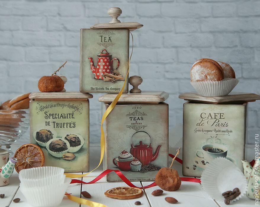 Box for storage, Teas & Coffees . Box for kitchen decoupage, Jars, Khimki,  Фото №1
