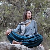 Одежда ручной работы. Ярмарка Мастеров - ручная работа Штаны Афгани женские с карманами - цвет морской волны. Handmade.