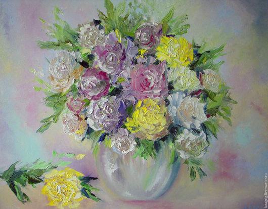 """Картины цветов ручной работы. Ярмарка Мастеров - ручная работа. Купить """"Аромат нежности"""" - работа Ларисы Григ. Handmade. Разноцветный"""