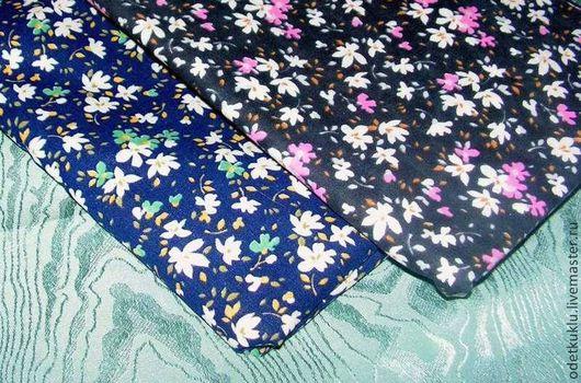 Шитье ручной работы. Ярмарка Мастеров - ручная работа. Купить Ткань хлопок, Милые цветы, 2 расцветки. Handmade. бирюзовый