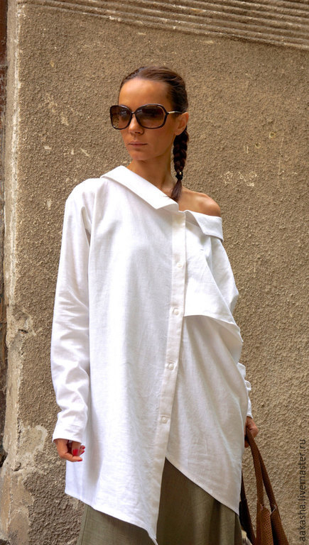 Рубашка из льна белая рубашка летняя рубашка женская рубашка модная рубашка