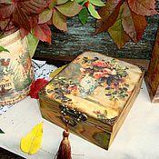 Для дома и интерьера ручной работы. Ярмарка Мастеров - ручная работа Шкатулка для чайных пакетиков ОСЕННИЕ РОЗЫ. Handmade.