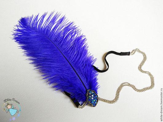 """Повязки ручной работы. Ярмарка Мастеров - ручная работа. Купить Повязка на голову """"Chicago Cobalt"""". Handmade. Синий, Чикаго, ретро"""