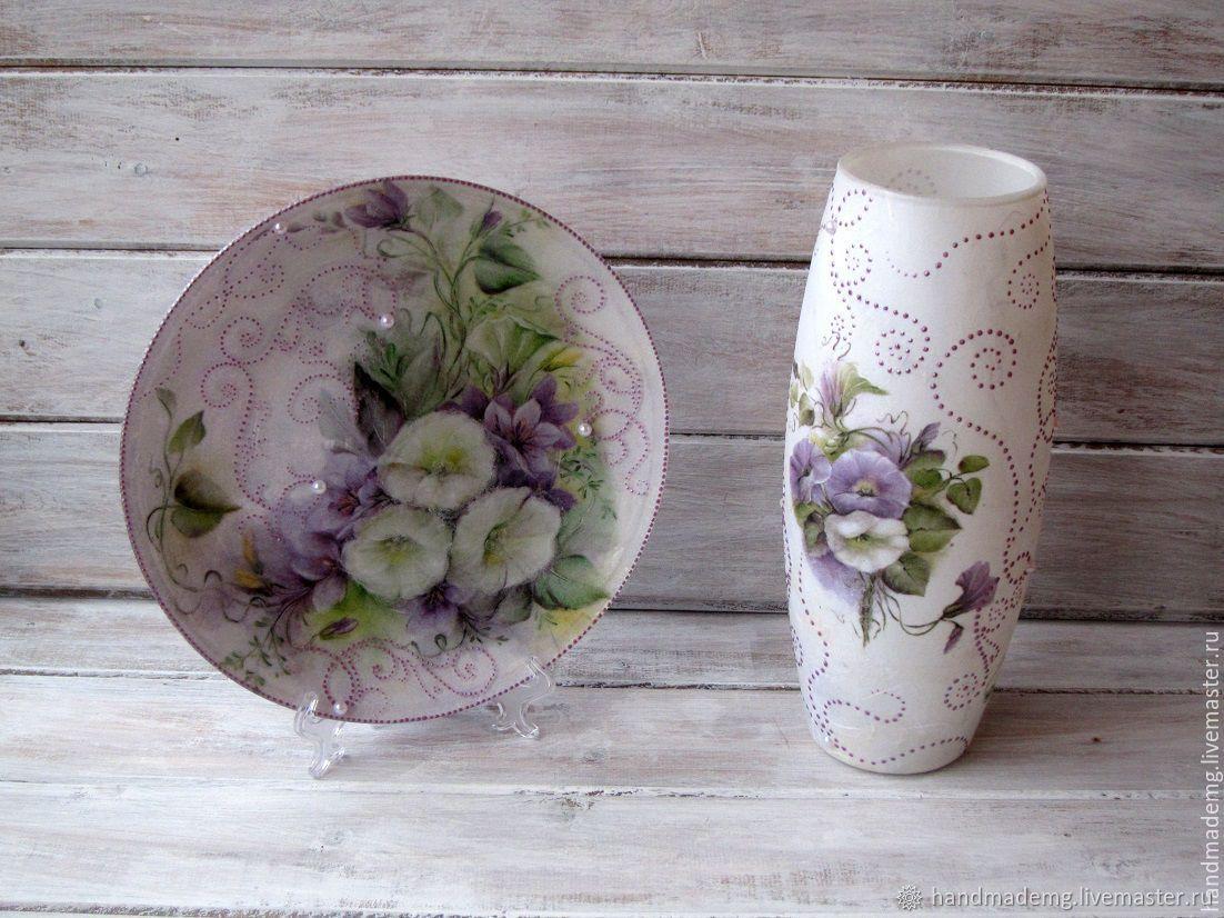 Ваза для цветов и тарелка. Вьюнок