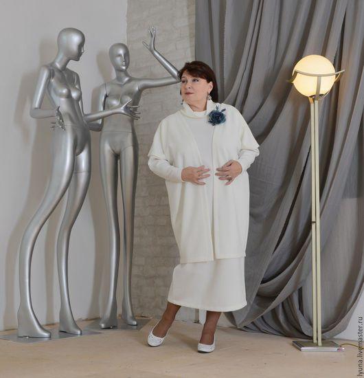 """Большие размеры ручной работы. Ярмарка Мастеров - ручная работа. Купить Платье из серии """"Чистая линия"""". Handmade. Бежевый, белый"""