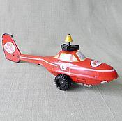 Вертолет  игрушечный, жестяной, инерционный (ГДР) (винтаж)