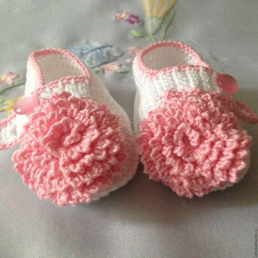 Для новорожденных, ручной работы. Ярмарка Мастеров - ручная работа. Купить Пинетки туфельки Маргаритки. Handmade. Комбинированный, пинетки для мальчика