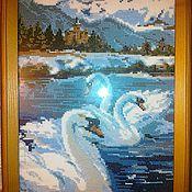 """Картины и панно ручной работы. Ярмарка Мастеров - ручная работа Вышитая картина """"Лебеди"""". Handmade."""