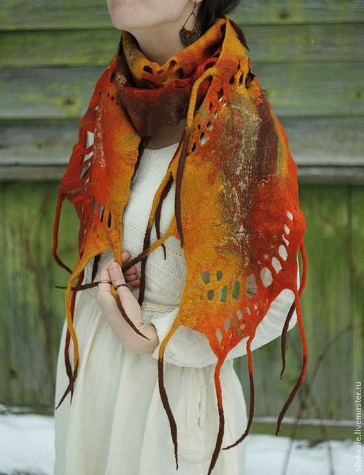 """Шали, палантины ручной работы. Ярмарка Мастеров - ручная работа. Купить шарф палантин  """"Осенний лист""""  нуно-войлок. Handmade."""