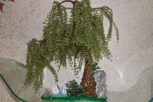 """Деревья ручной работы. Ярмарка Мастеров - ручная работа. Купить Бисерное дерево """"Ива на озере"""". Handmade. Комбинированный, Бисероплетение, проволока"""