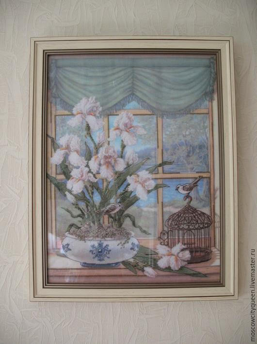 Картины цветов ручной работы. Ярмарка Мастеров - ручная работа. Купить картина вышитая крестом Доброе утро. Handmade. Разноцветный