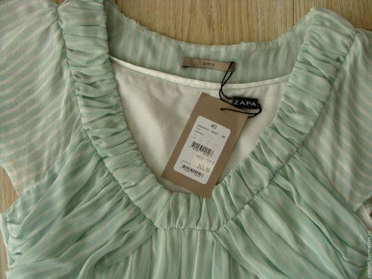 Одежда. Ярмарка Мастеров - ручная работа. Купить ZAPA Paris, туника из шелка, мятная с белым, Франция. Handmade. Мятный