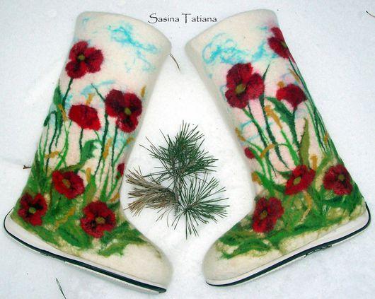 """Обувь ручной работы. Ярмарка Мастеров - ручная работа. Купить Валенки """"Маковое поле"""". Handmade. Маки"""