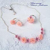 Украшения handmade. Livemaster - original item Jewelry set. Different color. Necklace. earrings. Ring.. Handmade.