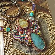 Украшения handmade. Livemaster - original item Necklace (pendant) Bronze Celt Natural aquamarine, Heliodorus, pearls. Handmade.