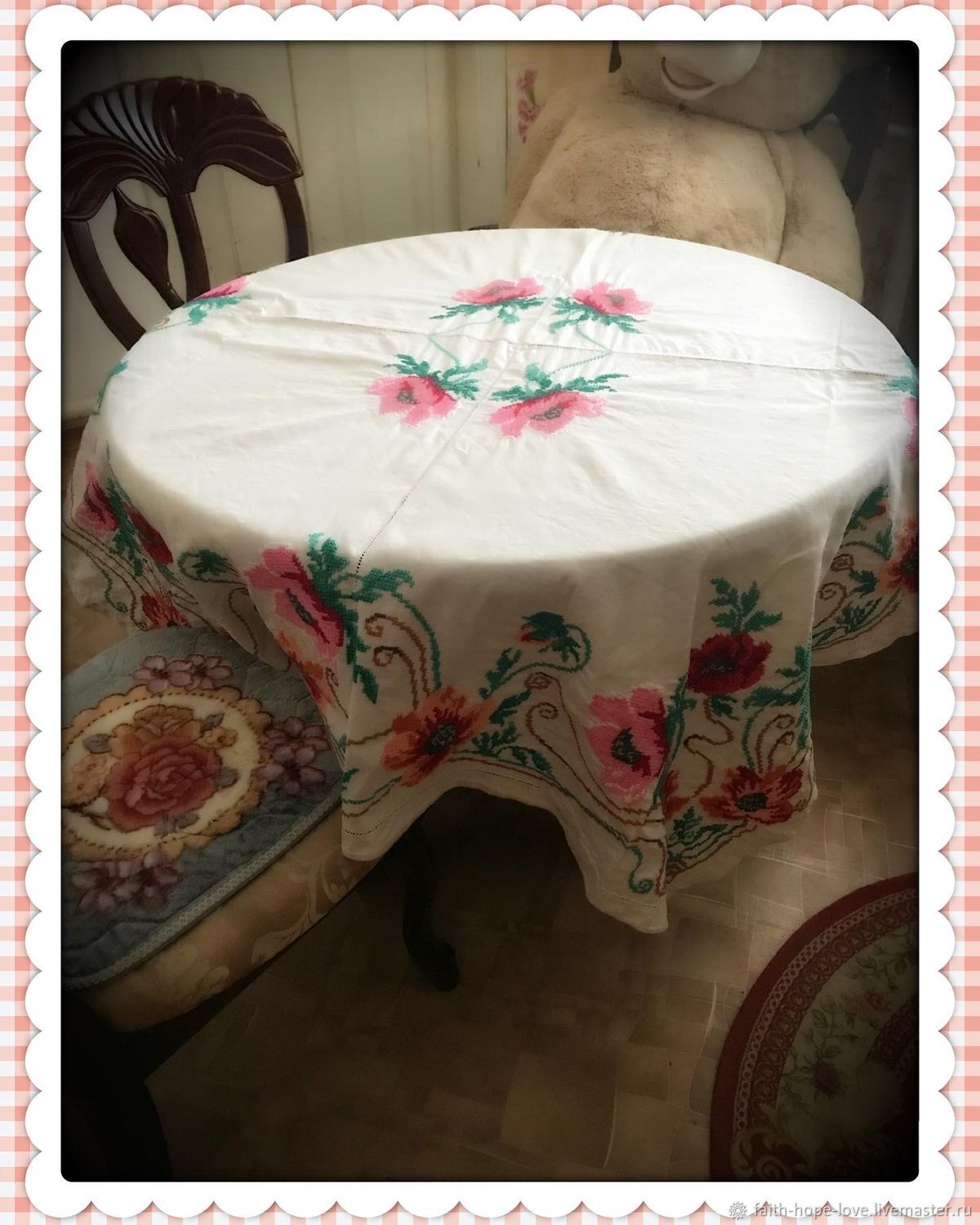 Fabulous Large Tablecloth from the Estate of the early twentieth century, Vintage interior, Vladivostok,  Фото №1