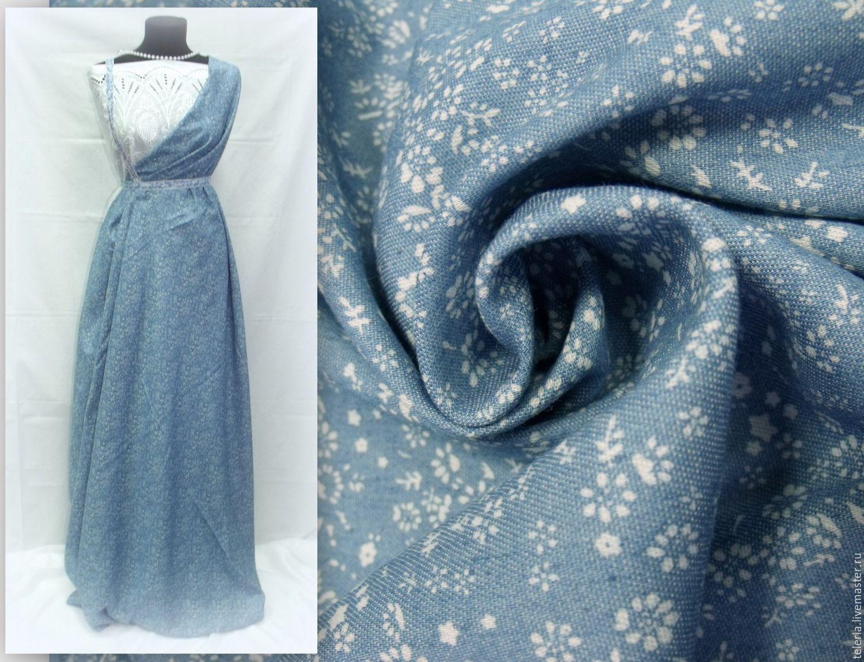 Джинсовая ткань в цветочек платья