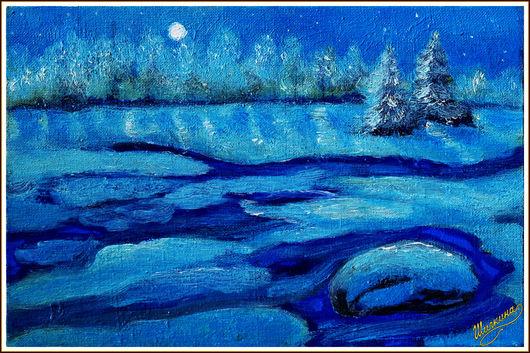 Пейзаж ручной работы. Ярмарка Мастеров - ручная работа. Купить картина Зимняя ночь. Handmade. Пейзаж, ночь, Снег, ели