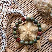 Украшения handmade. Livemaster - original item Unakite and rudraksha bracelet with elastic band (10 mm). Handmade.