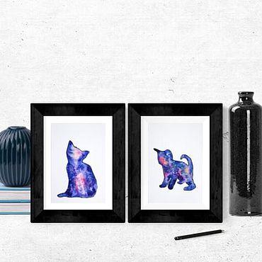 Картины и панно ручной работы. Ярмарка Мастеров - ручная работа Картины животных Два кота Акварель. Handmade.