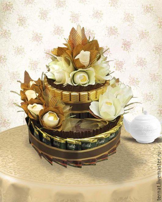 Торт из конфет, шоколадок и чая. Подарок. Купить. Торт из конфет. Торт из конфет на заказ в СПб.