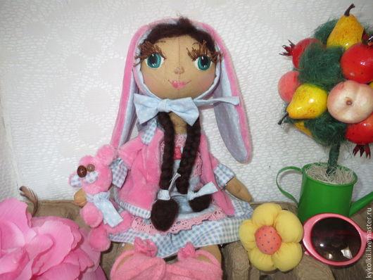 Куклы тыквоголовки ручной работы. Ярмарка Мастеров - ручная работа. Купить «Заюшка-хозяюшка». Handmade. Голубой, кукла тыквоголовка