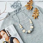 Одежда handmade. Livemaster - original item Slingobusy gray with geometric beads. Handmade.