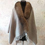 Одежда handmade. Livemaster - original item 100% Italian wool poncho with Finnish Fox fur. Handmade.