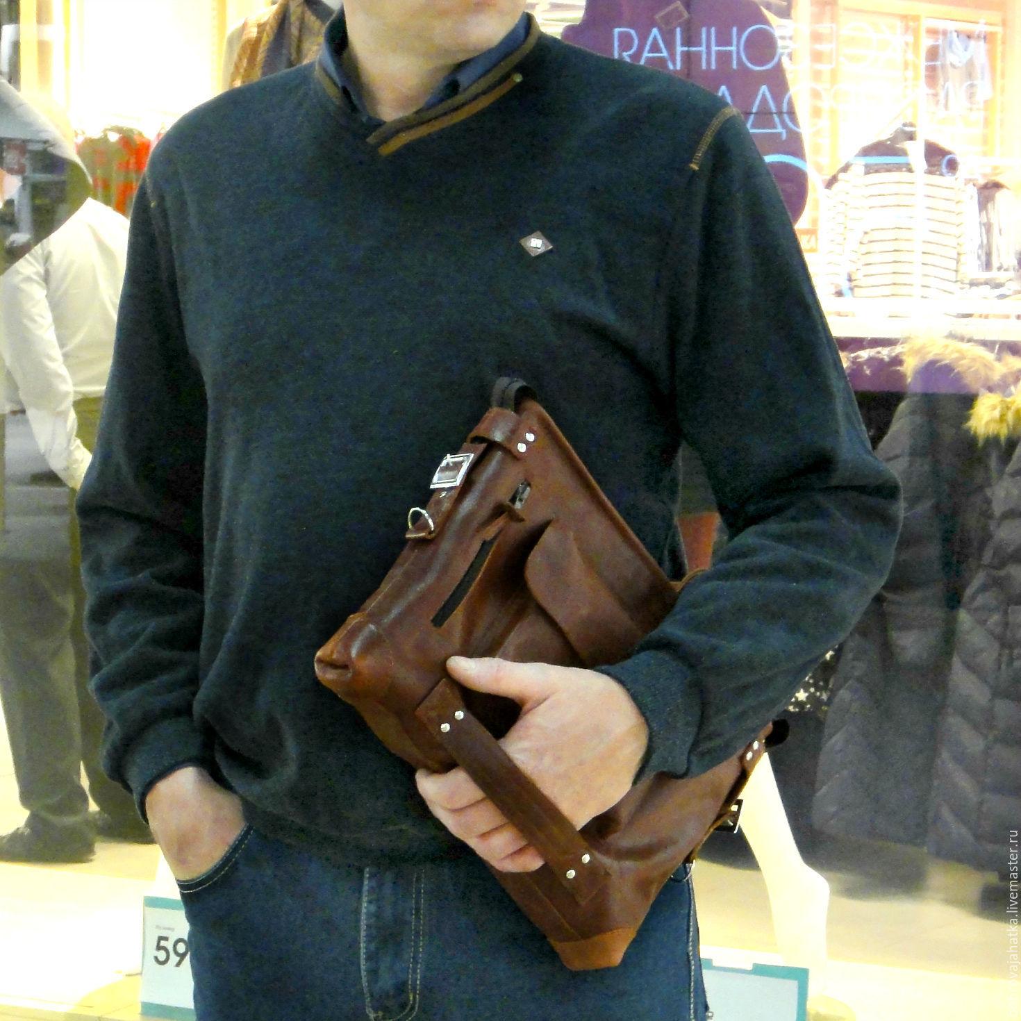Кожаные мужские сумки через плечо ручной работы 3