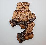 """Картины ручной работы. Ярмарка Мастеров - ручная работа Панно """"Сова на дубовой ветке"""". Handmade."""