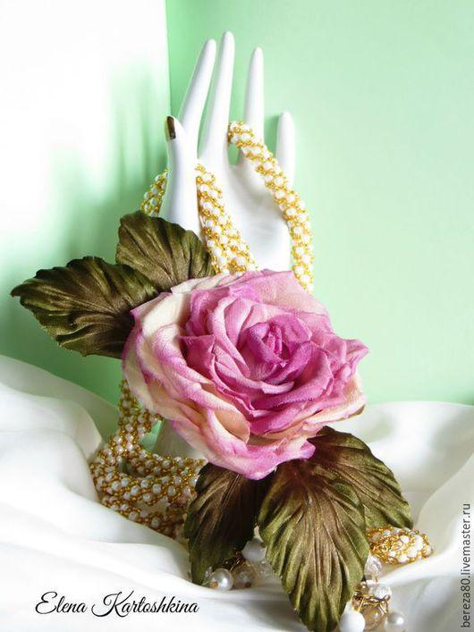 """Свадебные украшения ручной работы. Ярмарка Мастеров - ручная работа. Купить Брошь роза """"Amore""""  2 Цветы из шелка. Подарок.. Handmade."""