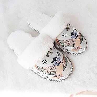 Обувь ручной работы. Ярмарка Мастеров - ручная работа Тапочки из овчины «Совушки». Handmade.