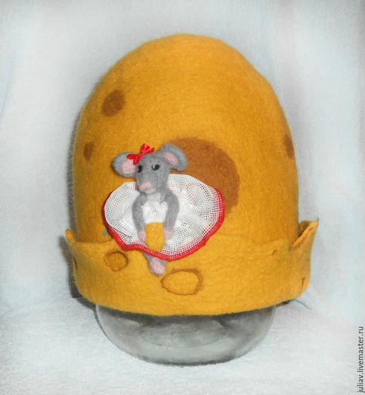 """Банные принадлежности ручной работы. Ярмарка Мастеров - ручная работа. Купить шапка для бани """"сырная"""". Handmade. Желтый, 100% шерсть"""