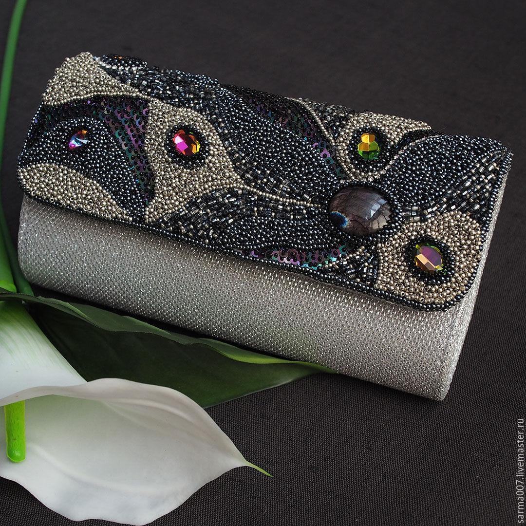 ' Silver Rain ' handbag clutch beads labradorite embroidery, Clutches, Voronezh,  Фото №1