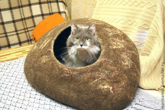 """Аксессуары для кошек, ручной работы. Ярмарка Мастеров - ручная работа. Купить Дом для кошки """"Pet's cave"""". Handmade. Коричневый"""